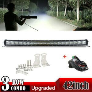 42inch 3200W Curved 9D LED Light Bar Spot Flood Offroad Driving Truck 4WD RZR 40
