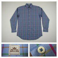 Peter Millar Mens Blue Plaid Casual Button Front Long Sleeve Shirt Medium New