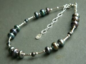 Beautiful Peacock Black Cultured Freshwater Pearls, 925 Sterling Silver Bracelet