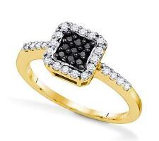 10K Yellow Gold Black & White Diamond Ring Halo Square Cluster Band .33ct
