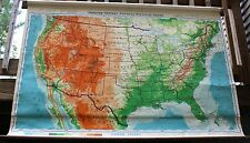 Antique 1948 DENOYER-GEPPERT Co. United States USA Large Pull Down SCHOOL MAP
