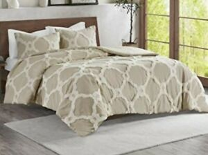"""Madison Park Tufted Chenille 100% Cotton Duvet - Ogee Taupe Full/Queen 90""""x90"""""""