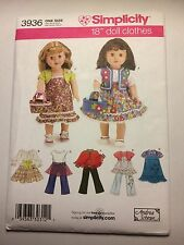 """Simplicity 3936 Pattern 18"""" American Girl Doll Clothes Andrea Schewe New Uncut"""