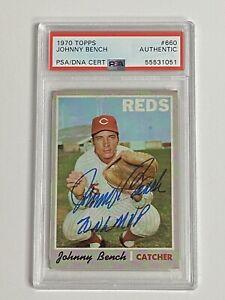 1970 Topps JOHNNY BENCH #660 Signed Autograph PSA/DNA NL MVP