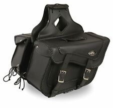 Large Braided Zip-Off Two Buckle Throw Over Saddle Bags for Harley, Honda Bikes