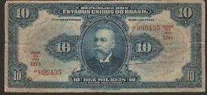 1925 BRAZIL 10 MIL REIS NOTE