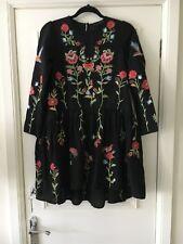 zara black floral embroidered dress Size Xs