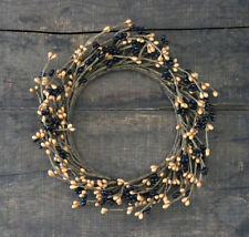 Pip Berry Pillar Candle Ring Black Tan Country Primitive Decor 6 inch inner diam