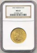 1907 $10 INDIAN EAGLE NGC MS63 GOLD COIN, BETTER DATE, Nice Luster