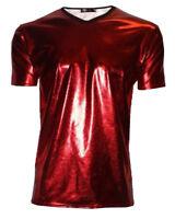 Mens Red Metallic Wet Look PVC Shiny T-Shirt Top Club Wear V Neck Fancy Dress
