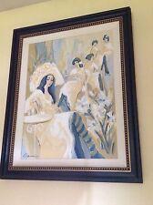 "Isaac Maimon Original ""Iris Parlor"" Acrylic On Canvas, signed, 42"" x 51"" framed"