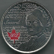 CANADA 2012 -WAR OF 1812 - LAURA SECORD - 25¢ COIN 5th OF SERIES RED IN RCM WRAP