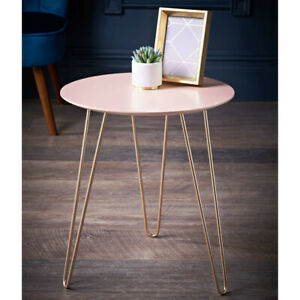 NEW Stylish Hairpin Gold Leg Side Table Coffee Table Dining Room * BLUSH *