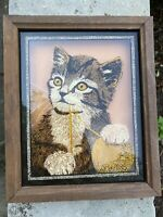 Vintage Cat Kitten Kitten Yarn  Glass Reverse Painted  Picture 1977