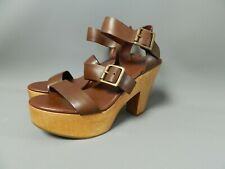 Gap Size 4 Brown Leather Block Heels Strappy Sandals Wooden RRP £55 Summer