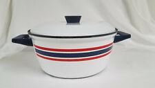 "New listing Vintage Cathrineholm ""Celebration Norway"" Red White Blue Enamelware Dutch Oven"