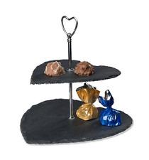 Etagere mensola da tavolo a due piani in pietra ardesia catering cm 24 h D cm 25