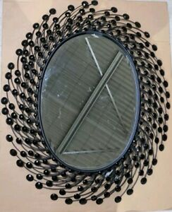 Oval mirror black crystal beads metal wall art RRP $229 bevelled edge glass