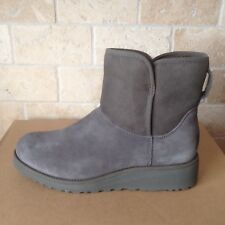 UGG KRISTIN CLASSIC SLIM GREY GRAY SUEDE WEDGE ANKLE MINI BOOTS SIZE US 7 WOMENS