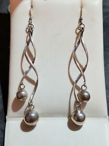 "3.5"" Long Sterling Silver Earrings Vintage moving Spirals balls dangle swing 925"