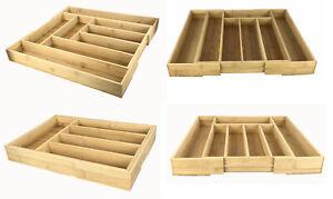 Besteckkasten Bambus ausziehbarer Besteckeinsatz Schubladeneinsatz Holz