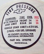 NOS 1967 CORVETTE GLOVE BOX TIRE PRESSURE DECAL STICKER, OLDER STYLE CHECK PICS!