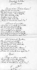 JULES DE MARTHOLD / Poème autographe Triomphante Ballade des glorieux dos verts