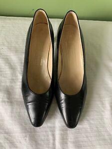Bruno Magli Womens Sz 7 B Black Leather Mid Heel Dress Pumps Shoes Classic NICE!