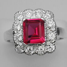 GLADSOME! RED TOPAZ MAIN STONE 1.84 CT. & WHITE SAPPHIRE 925 SILVER RING SIZE 8
