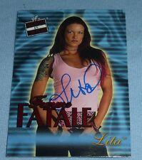 Lita Signed 2001 Fleer Raw is War Femme Fatale WWF WWE Card #FF4 Autograph Diva