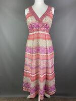 Debenhams Size UK 14 Chiffon Dress Floaty Sequin Pink Purple Coral Aztec Holiday