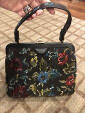 Vintage Handbag Kadin Purse Clasp Embroidered Needlepoint Flowers Black