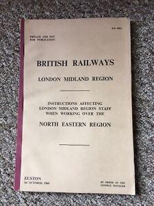 Railway Ephemera British Railways LMR Working Instructions On NER 1960