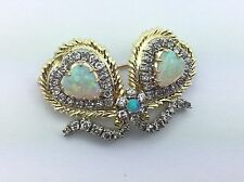 Estate Piece Ladies 14K Yellow Gold Diamond Opal Heart Pin Pendant