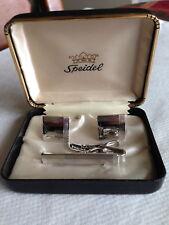 Vintage Speidel Cuff LInks and Tie Clasp Set in original box