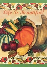"Life is Bountiful House Flag 28"" X 40"" Fall Pumpkin Decorative Designer Flag"