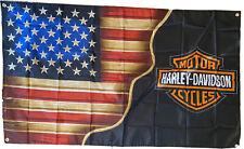 Harley - American Flag - Harley Davidson Flag - Blended in One - 3'x5'