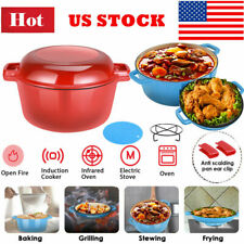2 In 1enamel Cast Iron Dutch Oven 6 Quart With Skillet Lid Kitchen Cookware Pot