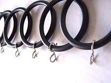 "30 x Large Matt Black Metal Curtain Pole Rings Suit 28mm 1.25"" dia with S Hooks"