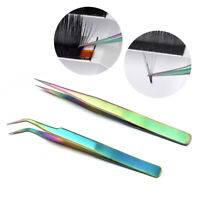 Stainless Steel Straight Curved Eye Lashes Tweezers Eyelash Extension Clip Tools