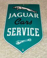 """VINTAGE JAGUAR CAR SERVICE 6"""" PORCELAIN METAL SPORTS CAR TRUCK GASOLINE OIL SIGN"""