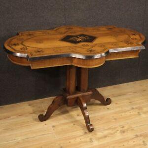 Tavolo mobile antico da salotto in legno intarsiato 800 XIX secolo