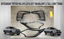 Mitsubishi Triton MQ 2015+ Black Headlight & Tail Light Trims Headlamp Covers