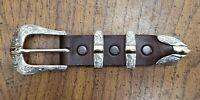 Greg Jensen Sterling Silver 14K Gold Engraved 4 Piece Belt Buckle Set #5
