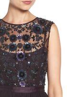 NWT $390 BHLDN Needle & Thread Mariel Aubergine Dress Embellished Beaded Tulle