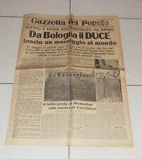 GAZZETTA DEL POPOLO 25 ottobre 1936 Da Bologna il Duce 25/10 Fascismo