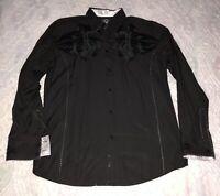 Roar Signature Mens XL Long Sleeve Button Up Shirt Black Embroidered