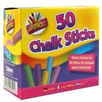 50 x COLOURED CHALK STICKS Blackboard Pavement Kids Children's Art Craft Colour