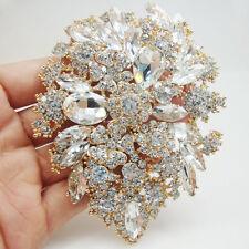 Gold Tone Bride Dual Drop Flower Wedding Brooch Pin  Clear Crystal Rhinestones