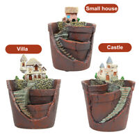 Castle Planter Herb Flower Cactus Succulent Plant Resin Pot Garden Home Decor *